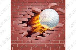 Flaming Golf Ball Breaking Through Brick Wall