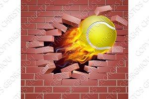 Flaming Tennis Ball Breaking Through Brick Wall