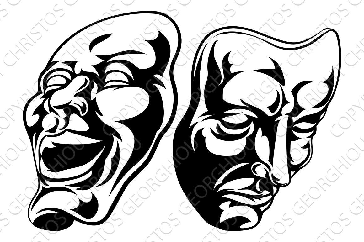 pictures of drama masks theatre masks illustrations creative market 9822