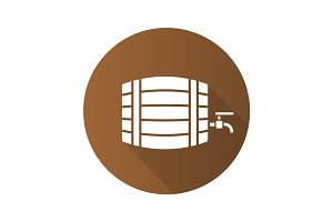 Alcohol wooden barrel. Flat design long shadow icon