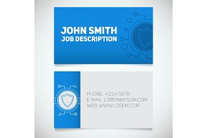 Business card print template with protection shield logo