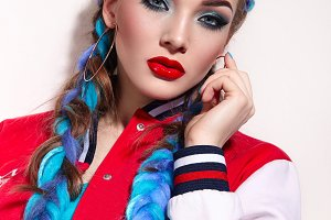 Girl with long bright braids.#3