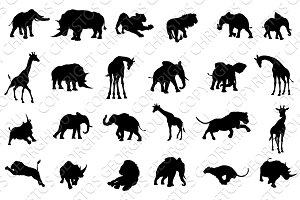African Safari Animals Silhouettes