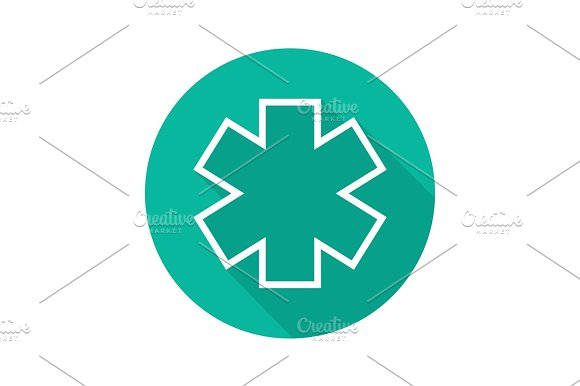 Star Of Life Flat Linear Long Shadow Icon