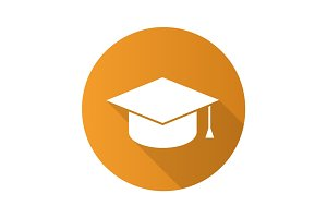 Square academic graduation cap. Flat design long shadow icon