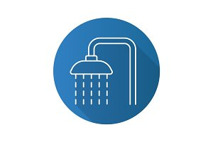 Shower flat linear long shadow icon