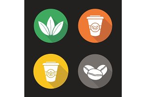 Tea and coffee flat design long shadow icons set