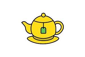Tea brewing color icon