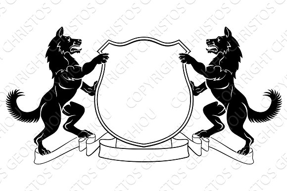 Dogs Heraldic Coat Of Arms Crest Shield