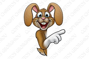 Cartoon Easter Bunny Rabbit Pointing
