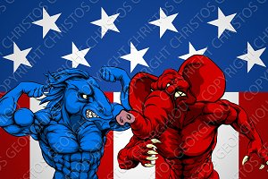 American Politics Elephant Donkey Fight