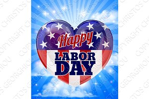 Labor Day American Flag Heart