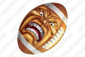Angry American Football Ball Sports Cartoon Mascot