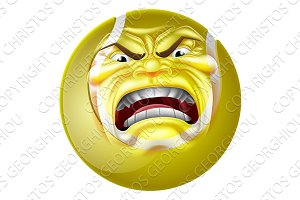 Angry Tennis Ball Sports Cartoon Mascot