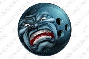 Angry Bowling Ball Sports Cartoon Mascot