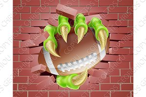 Claw with Football Ball Breaking Through Brick Wall