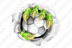 Claw with Soccer Ball Breaking out Of Background