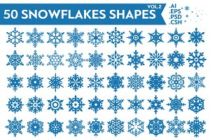 50 Snowflakes Vector Shapes Vol.2