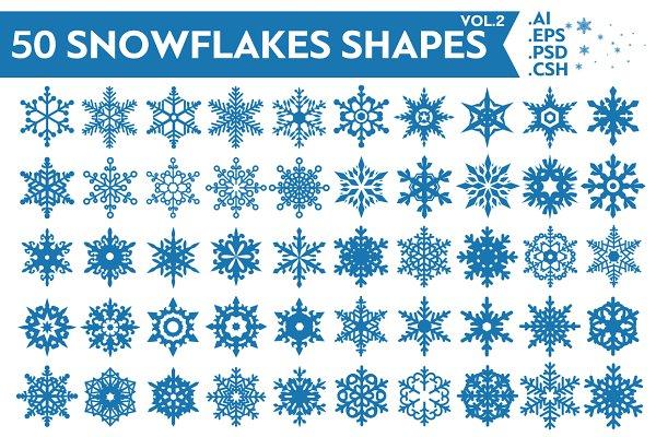 Photoshop Shapes: pixaroma - 50 Snowflakes Vector Shapes Vol.2