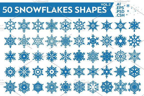 50 Snowflakes Vector Shapes Vol.2 - Shapes