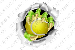 Claw with Tennis Ball Breaking out Of Background