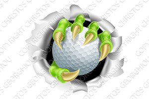 Claw with Golf Ball Breaking out Of Background