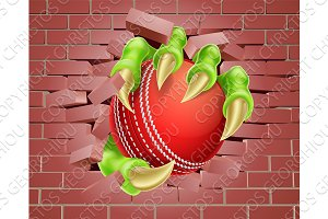 Claw with Cricket Ball Breaking Through Brick Wall