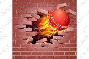 Flaming Cricket Ball Breaking Through Brick Wall