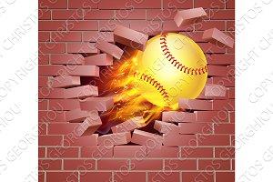 Flaming Softball Ball Breaking Through Brick Wall
