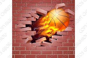 Flaming Basketball Ball Breaking Through Brick Wall