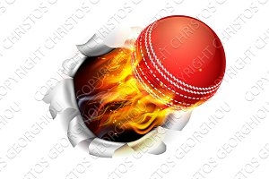 Flaming Cricket Ball Tearing a Hole in the Background