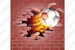 Flaming Soccer Football Ball Breaking Through Brick Wall