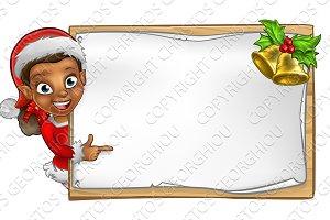 Christmas Santa Helper Elf Character Sign