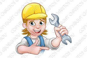 Female Mechanic or Plumber Cartoon Character