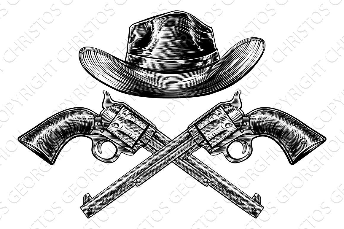 Cowboy Hat and Crossed Guns ~ Illustrations ~ Creative Market