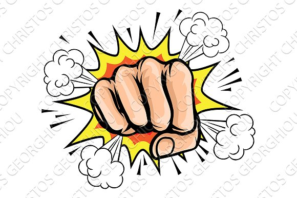 Pop Art Cartoon Fist Graphic