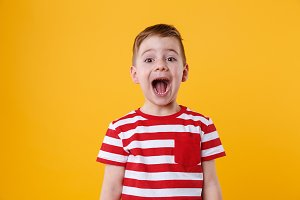 Portrait of a little boy shouting