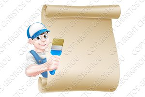 Cartoon Painter Decorator Sign