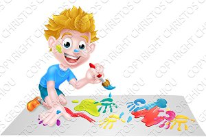 Cartoon Boy Painting With Brush