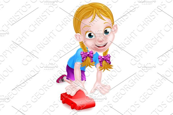 Girl Child Playing With Toy Car