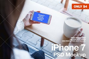iPhone 7 RED PSD Mockup