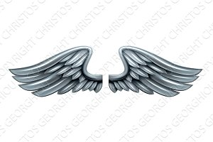 Silver Steel Metal Wings