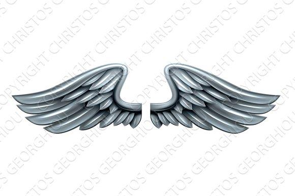 Silver Steel Metal Wings