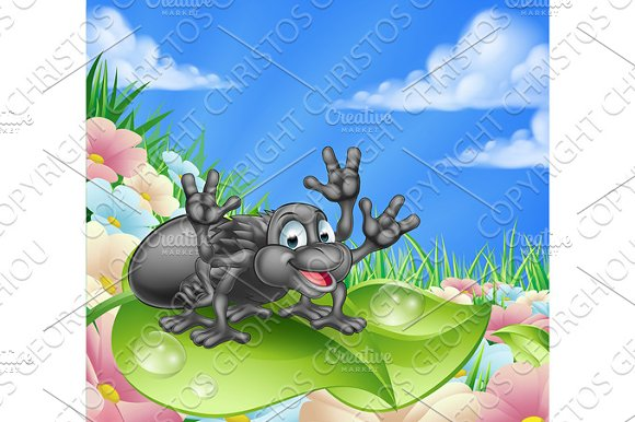 Cartoon Spider In Meadow