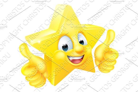 Star Cartoon Mascot Giving Thumbs Up