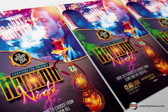 Hookah Lounge Flyer Template Flyer Templates on Creative Market – Lounge Flyer Template