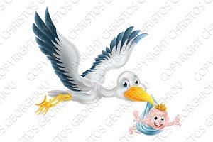 Stork bird flying holding newborn baby