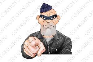 Mean Burglar Thief Pointing
