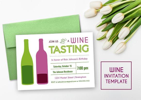 Wine Tasting Party Invitation Invitation Templates Creative Market – Wine Tasting Party Invitation