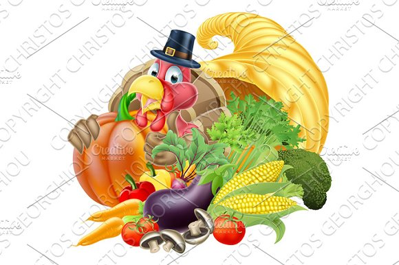 Cornucopia And Thanksgiving Turkey